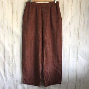 Flax Pants Sz M Baggy Textured 100% Linen Brown